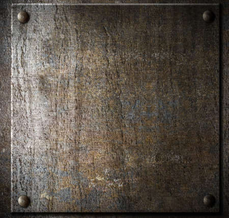 old metal plate with rivets photo