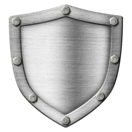 shield made from metal over white photo