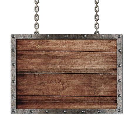 uithangbord: middeleeuwse bord met kettingen geïsoleerd op wit Stockfoto