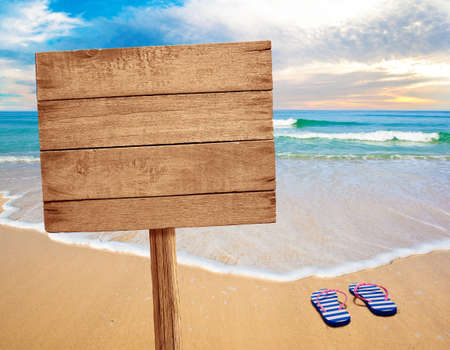 wooden signboard: wood sign on beach