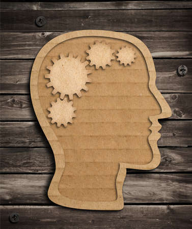 psychical: Human brain work model made from cardboard