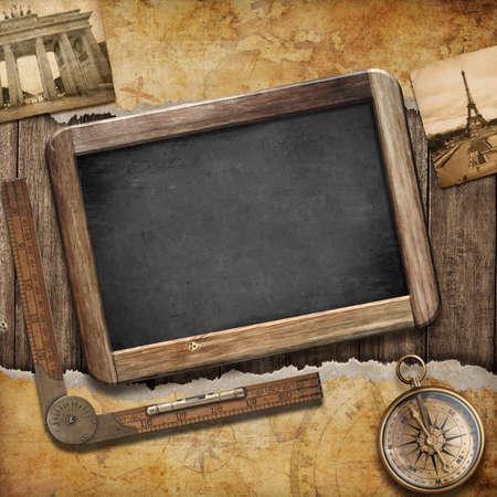 Schatzkarte, Tafel und alten Kompass. Nautische Stillleben. Abenteuer oder Entdeckung Konzept.