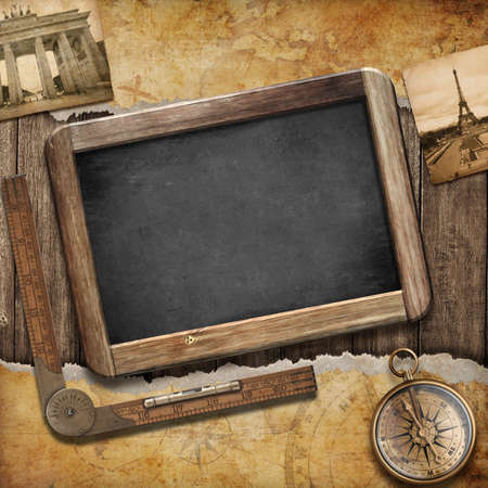 travel features: Treasure map, blackboard and old compass. Nautical still life. Adventure or discovery concept.