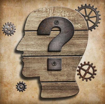 疑問符概念と人間の頭のシルエット 写真素材