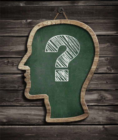 anonymus: Human head chalkboard with question mark concept Stock Photo