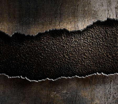 손상된 금속 찢어진 가장자리 배경