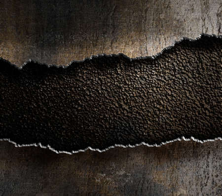 metallic grunge: damaged metal torn edges background Stock Photo
