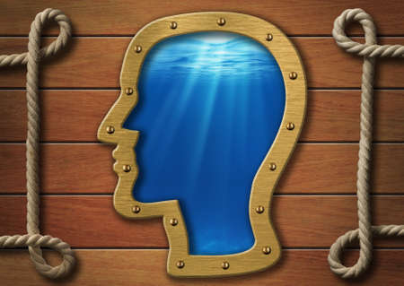 psychical: The inner world concept. Head porthole on wooden wall and sea or ocean deep behind it. Stock Photo