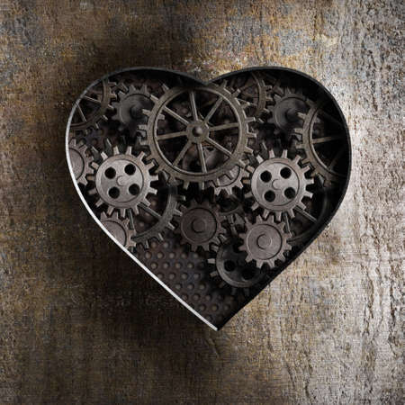 anatomy brain: metal heart with rusty gears and cogs
