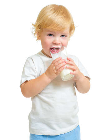 Child drinking dairy product from glass isolated on white Stock Photo - 22217267