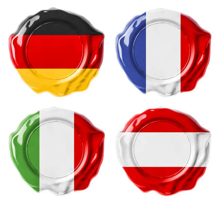 made in germany: Germany, France, Italy, Austria national flag wax seals set isolated on white Stock Photo