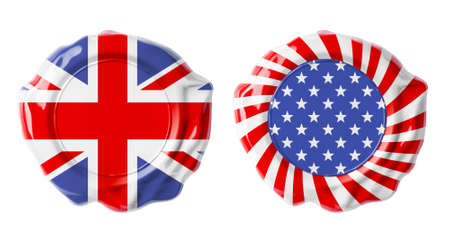 British and USA guarantee seals isolated on white Stock Photo - 22217278
