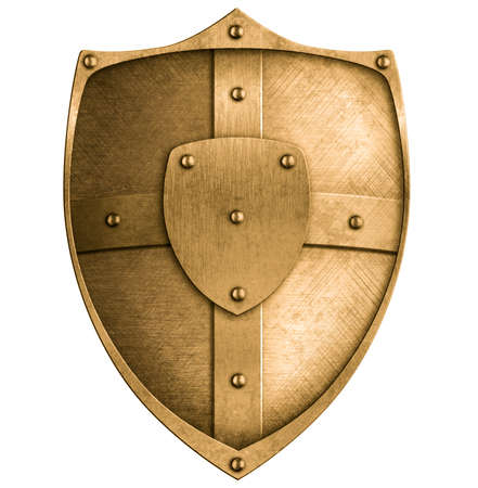 boarded: bronze metal shield isolated on white