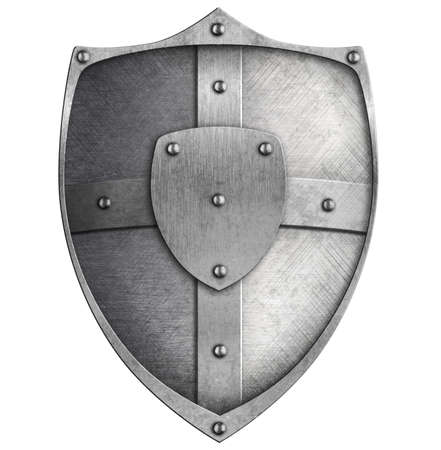 metal shield isolated on white Stock Photo - 22217280