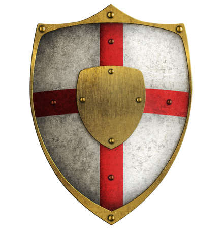 crusader: aged metal shield isolated on white