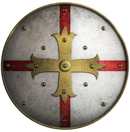 Ronde middeleeuws schild met gouden kruis Stockfoto