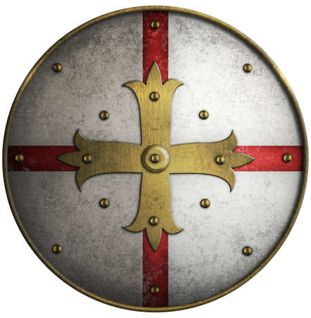 Round medieval shield with golden cross photo