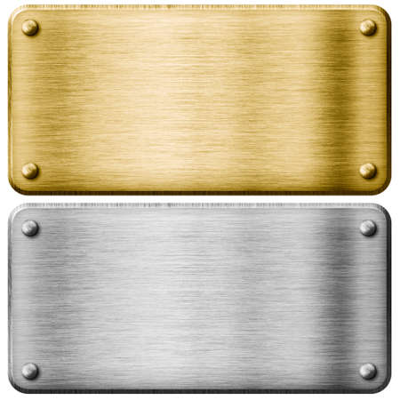 metal textures: Silver and gold metal plates isolated