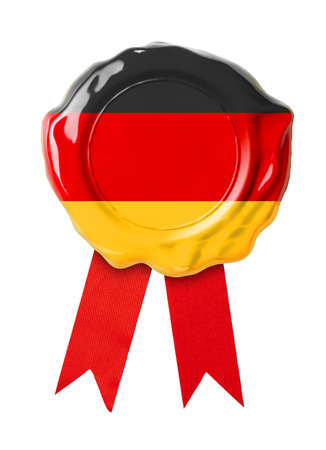 Germany flag seal or medal with red ribbon photo