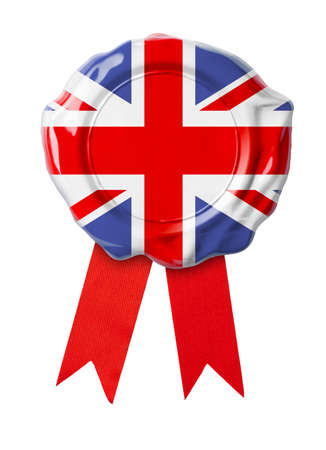 British or UK flag seal with ribbon photo