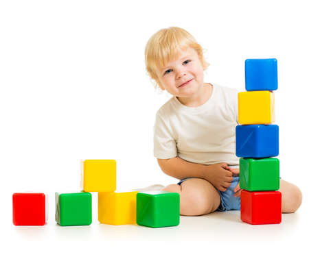 kid playing with colorful blocks Stock Photo - 22236366