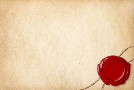 parchemin: Vieux papier blanc avec cachet de cire et de la corde