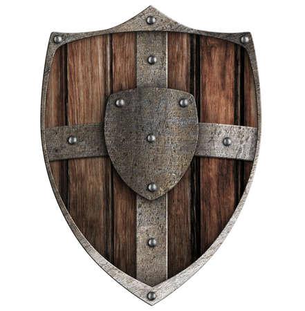 vikingo: escudo de madera aislado en blanco Foto de archivo