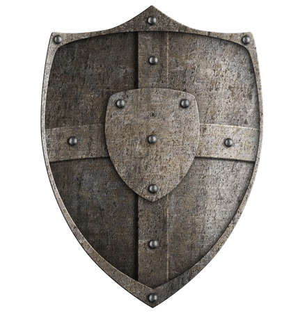 medieval metal shield isolated on white Stock Photo - 22273558