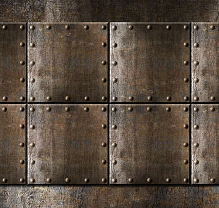 metal armour background with rivets photo