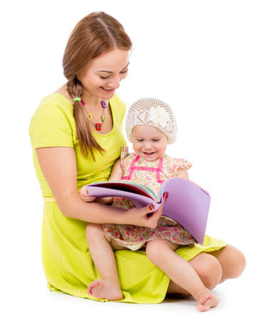Mother and daughter reading book photo