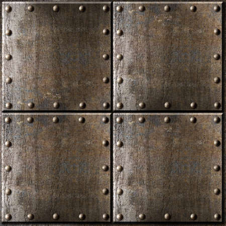 metal textures: rusty metal armour background with rivets Stock Photo