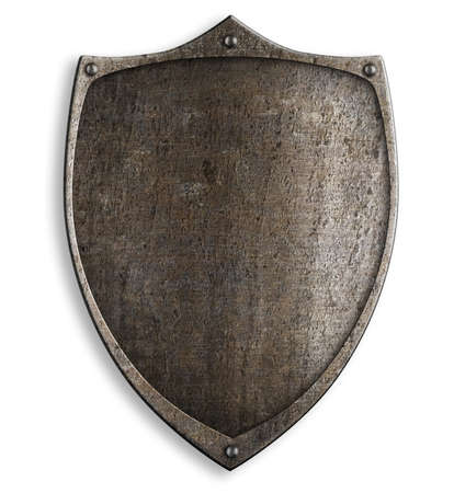 old medieval metal shield with clipping path included Stock Photo - 22346160