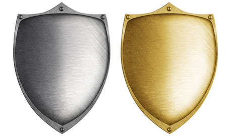 crusader: shields made from bronze and steel metal Stock Photo