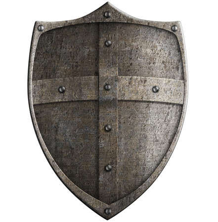 medieval crusader's metal shield isolated with clipping path included Stock Photo - 22346164