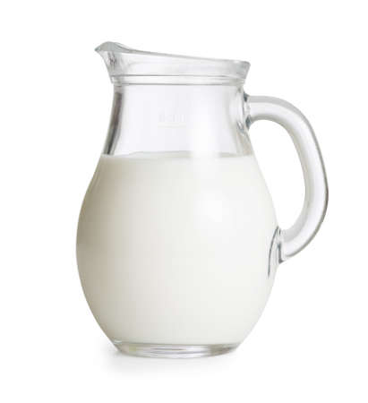Milk glass jug or jar isolated. Clipping path with no shadows is included. photo
