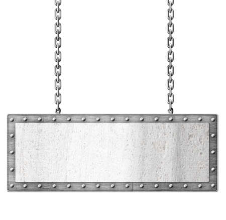 metal signboard hanging on chains isolated photo