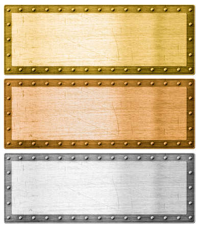cuprite: metal frames silver, gold and bronze with clipping path