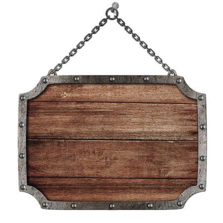 oxidado: Letrero de calzada medieval con cadenas colgando de clavo aislado