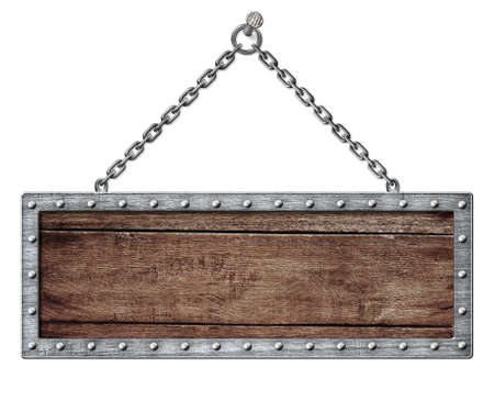 wooden plaque: medieval signboard or shield hanging on chain isolated on white