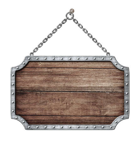 wooden shield or road sign hanging on chains isolated on white photo