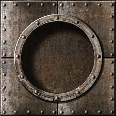 金属の舷窓の背景