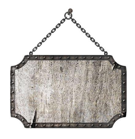 nameboard: rusty metal signboard isolated