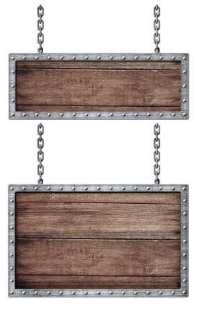 nameboard: medieval signboards set with chains isolated on white Stock Photo