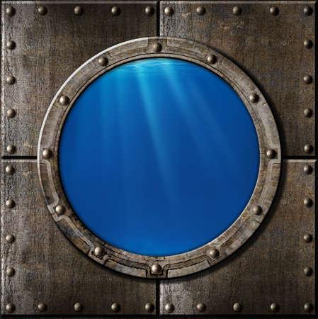 rusty metal porthole underwater Stock Photo