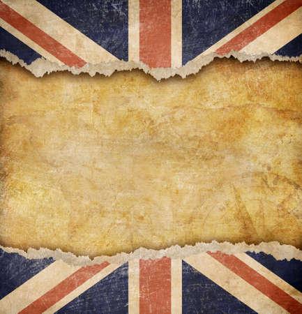 bandera inglaterra: Grunge bandera británica y el viejo mapa Foto de archivo
