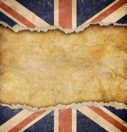 ripped: Grunge British flag and old map