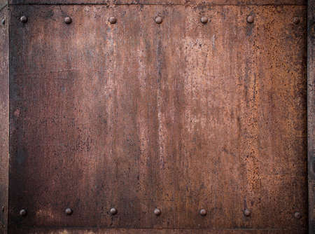old metal background with rivets Banco de Imagens