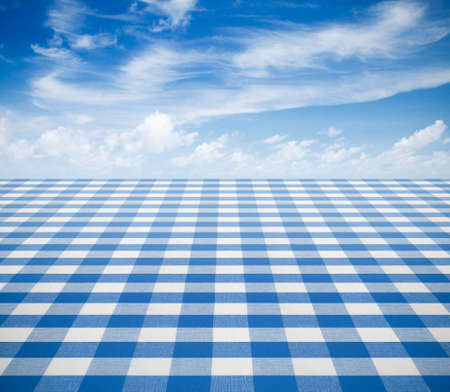 picnic cloth: blue tablecloth backgound  with sky