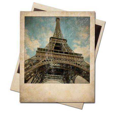 old photo: Vintage polaroid Eiffel tower instant photo Stock Photo