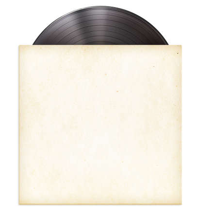 old album: vinyl record disc LP in paper sleeve isolated